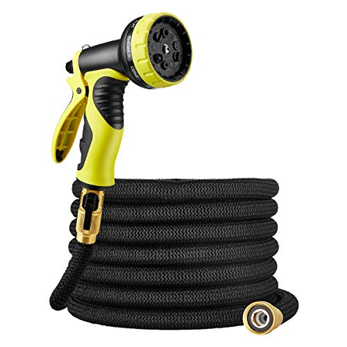 "Powerextra 50 ft Non-Kink Expandable Garden Hose, with Double Latex Core,9-Way Spray Nozzle,3/4""Brass Fittings with Shut Off Valve,and Storage Bag, Best 50′ Foot Garden Hose-1 Year Warranty (Black)"