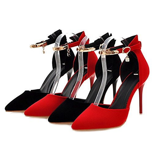 SJJH Sandals with Pointed Toe and Thin Heel for Working Women and Large Size Nubuck Materail Dressy Shoes Black yEQBedr