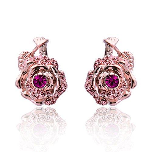 (Wo-dreams Romantic Rose Plated Full Rhinestone Rose Shaped Earrings)