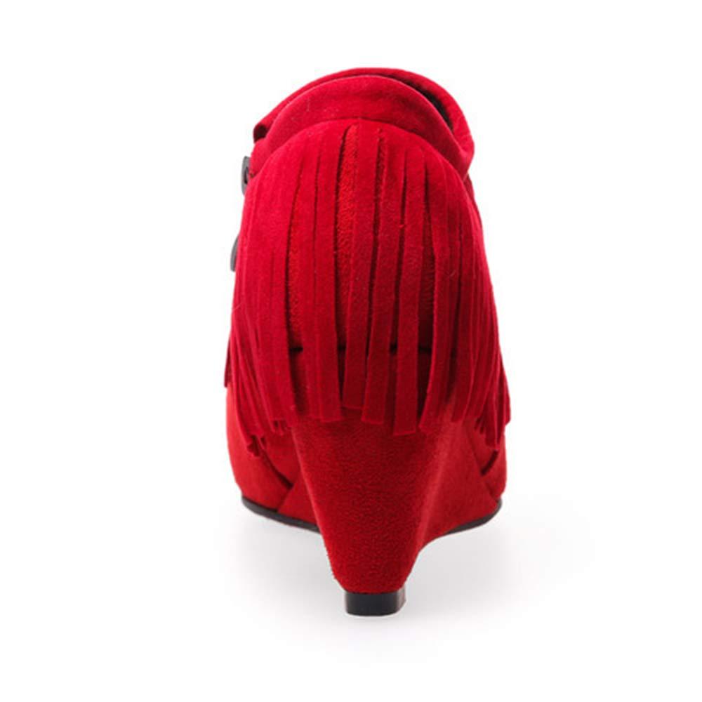 CITW Herbst Damenstiefel Keil Tassel Große Größe Nackte Stiefel Wildleder Einzel Stiefel High Heel Und Nackte Stiefel,rot,UK4 EUR38