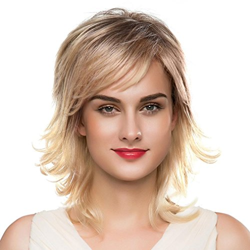 Ecurson Blonde Natural Short Wigs for Women Human Hair Wig Short Hair Wig (Jane Fonda Wigs)