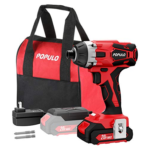 20V Max Lithium Ion Cordless Impact Driver Kit, 1/4″ Quick Release Chuck, Maximum Torque 1,770 in-lbs, Variable Speed, LED Light, Battery, Fast Charger, 2 Piece Drive Bits and Tool Bag Included