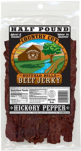 Jerky Black Pepper (Buffalo Bills 8oz Hickory Pepper Country Cut Beef Jerky Pack (hickory beef jerky with black pepper))