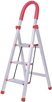 Escalera plegable taburete banqueta Escaleras de tijeras con pasamanos 3 escalones, escalera de peldaño plegable de aluminio ligero de la pequeña seguridad de la seguridad for las personas mayores adu: Amazon.es: Bricolaje