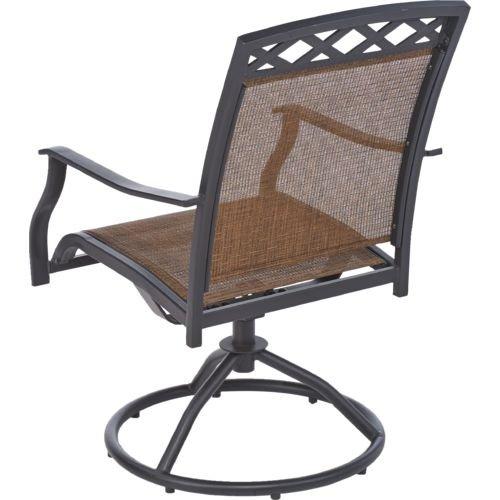 Outdoor Patio 2-Piece Sling Swivel Rocker Chair: Set of 2