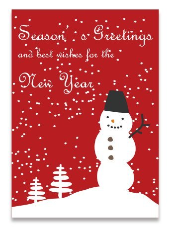 Snowman Season's Greetings Card (6 Cards Set), Folded Greeting Card with Red Envelope, 4.13 x 5.82 inches when (Seasons Greetings Snowman)