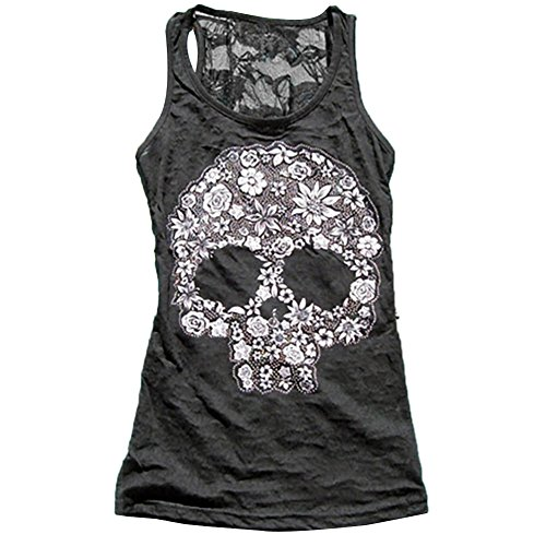 Bestag Summer Tank Tops Womens Skull Vest Printing Back Lace Patchwork Vest (X-Large, - Tank Skull