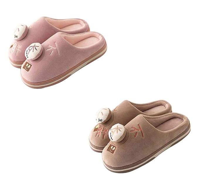 Zapatillas de casa de dibujos animados para parejas de 2 pares, botines suaves de invierno, antideslizantes, felpa, B: Amazon.es: Ropa y accesorios