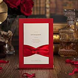 Red Wedding Invitations Cards Classic Chinese Bow Knot Gold Embossing Business Invitation Card CW2021 (100)