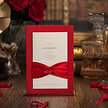 Amazon Com Red Wedding Invitations Cards Classic Chinese Bow Knot