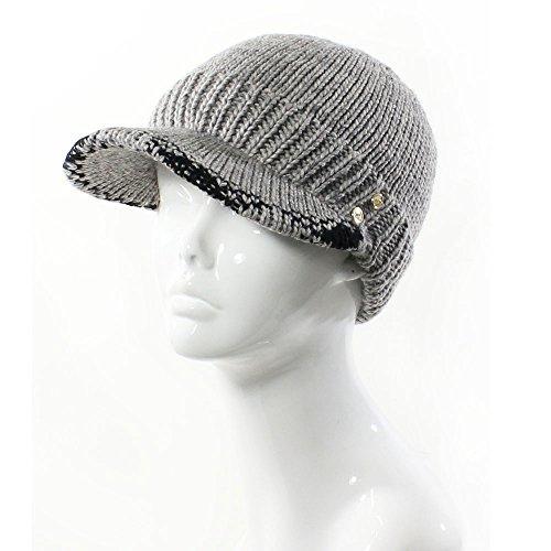 (AN- Winter Warm Fashion Knit Cap Hat Fleece Lined Wool Blend w / Gold Small Buttons Plaid Trim , Visor Brim)