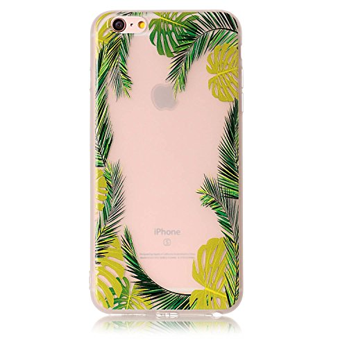 iPhone 6 Plus Clear Case, iPhone 6s Plus Soft Cover, GreenDimension Floral Print Flexible TPU Shock Absorption Bumper Shell Trees Pattern Transparent Matte Silicone Gel Back Drop Protection Cover