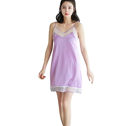 260e52930 Amazon.com  Women Ladies Nightwear Nightdress Sexy Lingerie Satin Mesh  Sleepwear Solid V-Neck Sleeveless Dress (Purple