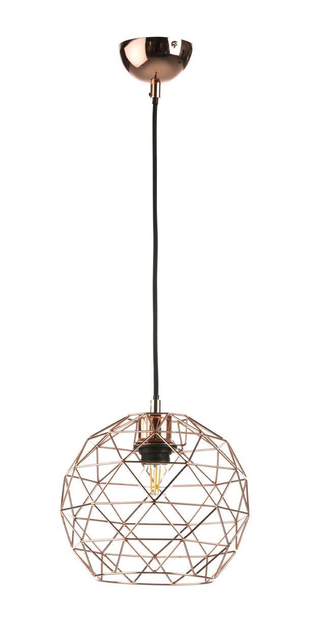 Els Banys 09 0101 37 - Lámpara colgante jaula, metal, E27, 30 x 30 cm, color cobre