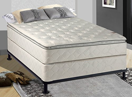 Spinal Solution Fully Assembled 10'' Orthopedic Mattress with Pillow Top and Box Spring with Frame, Queen by Spinal Solution