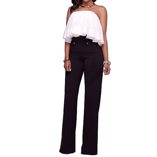 Women Sexy Wide Leg Pants High Waist Trousers Button Bell-Bottomed ... 591bde39456f