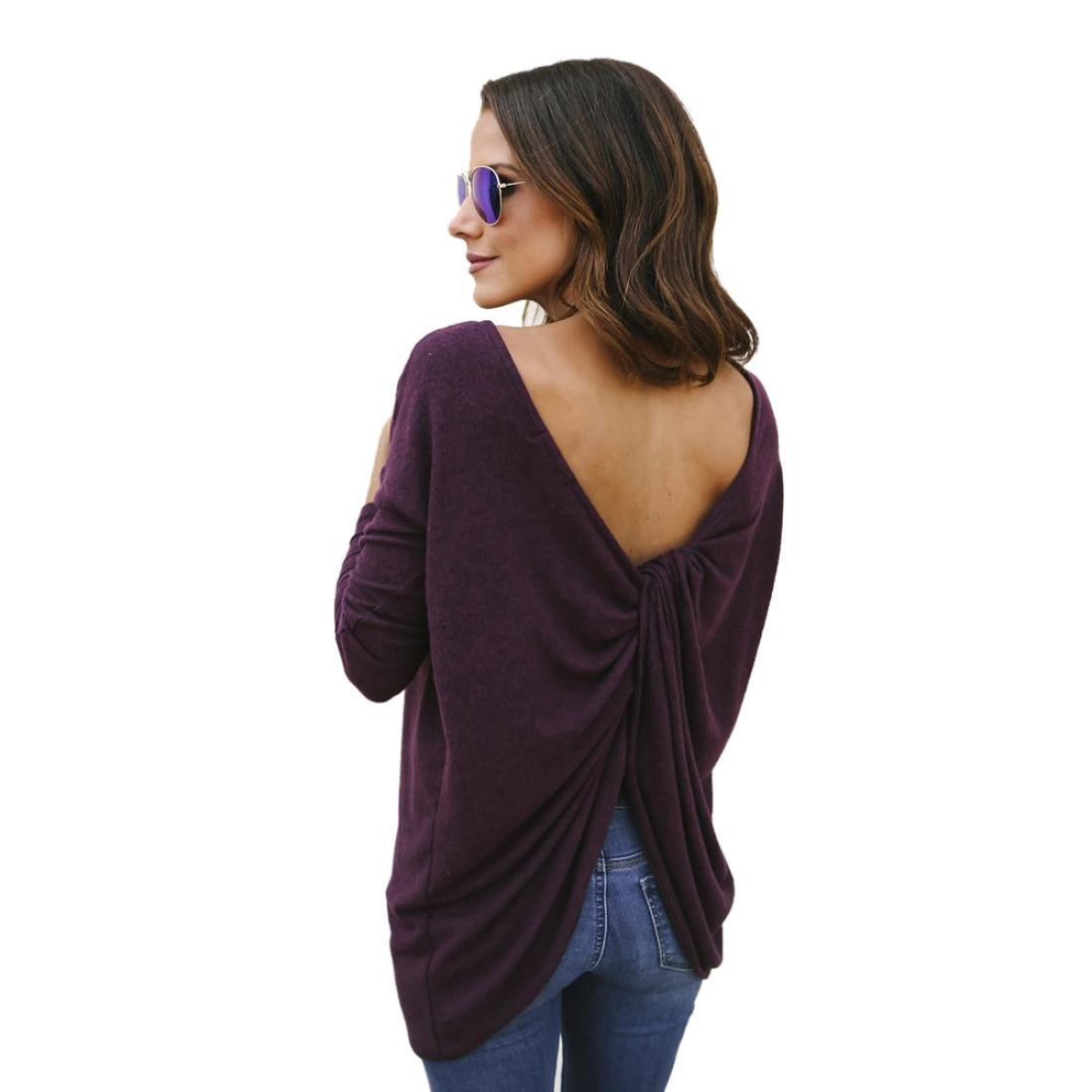 low-cost Women Blouse ,BeautyVan New Design Women Backless Long Sleeve Charming Sweatshirt Pullover Tops Blouse