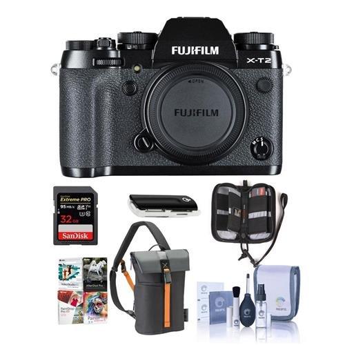 Fujifilm X-T2 Mirrorless Camera Body, Black - Bundle With Camera Bag, 32GB SDHC U3 Card, Cleaning Kit, Memory Wallet, Card Reader, Software Package