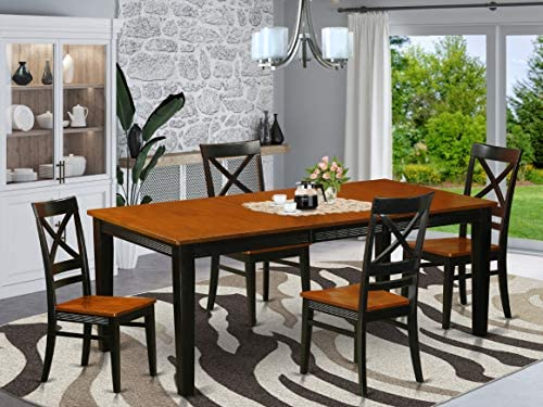 QUin5-BLK-W 5 Pc Dining room set-Dining Table and 4 Dining Chair