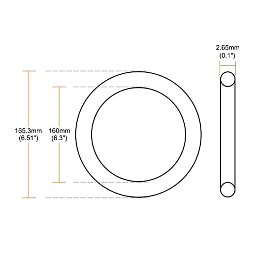 Round Seal Gasket Pack of 5 165.3mm OD uxcell O-Rings Nitrile Rubber 160mm Inner Diameter 2.65mm Width