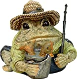 Homestyles Toad Hollow #94018 Figurine Angler Fisherman with Fish in Pail, Fishing Pole, Hat with Lures Sports Character Garden Statue Small 5.5″h Toad Figure Natural Brown For Sale