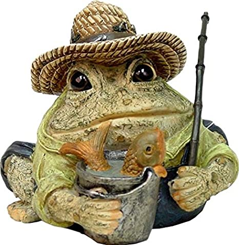 58a1d0f35 Homestyles Toad Hollow #94018 Figurine Angler Fisherman with Fish in Pail,  Fishing Pole, Hat with Lures Sports Character Garden Statue Small 5.5