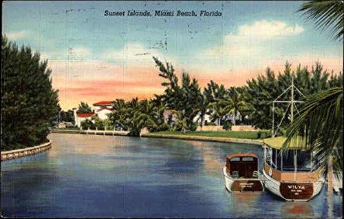 (Sunset Islands Miami Beach, Florida Original Vintage Postcard)