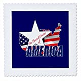 3dRose Alexis Design - America - American Map and Star, text The United States of America on blue - 18x18 inch quilt square (qs_270548_7)
