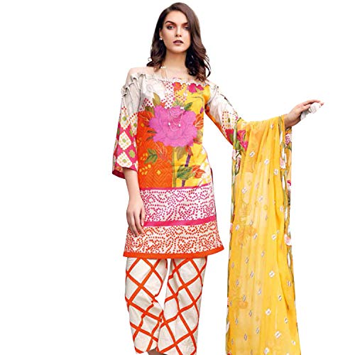 (IshDeena Pakistani Designer Lawn & Chiffon Dresses for Women Ready to Wear Salwar Kameez (Small, Orange Yellow - Charizma Naranji))