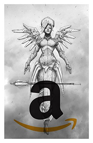(Mercy Giclee print of pencil drawing of Support class character from Overwatch video game)