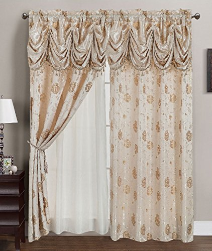 RT Designers Collection Kelly Jacquard 54 x 84 in. Double Rod Pocket Curtain Panel w/ Attached 18 in. Valance, Beige For Sale