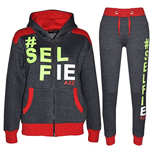 Kids Tracksuit Girls Boys Designer's #Selfie Jogging Suit Hoodie Top Bottom 7-14