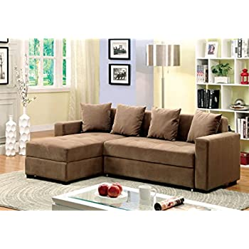 Furniture of America Laurence Sectional Sofa Sleeper with Storage  sc 1 st  Amazon.com : sectional sofa with storage and sleeper - Sectionals, Sofas & Couches