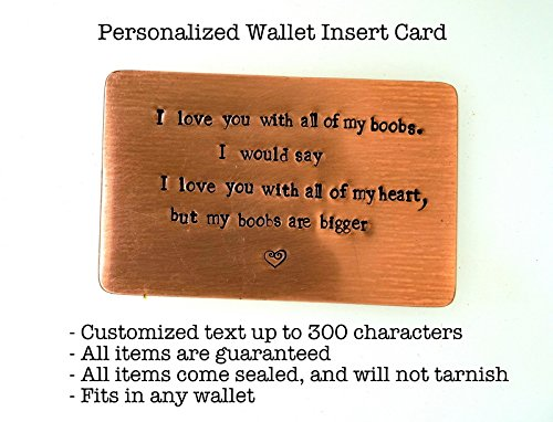 Wedding Anniversary Occasion Wallet Insert Cards- Hand Stamped with Personalized Message or Quote for: 1st, 2nd, 7th, 8th, 9th, 10th, 16th, 19th 22nd, 23rd, 25th - 23 Studio My