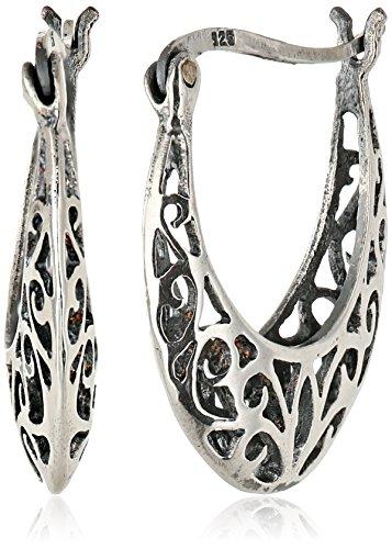 - Sterling Silver Bali-Inspired Filigree Round Hoop Earrings