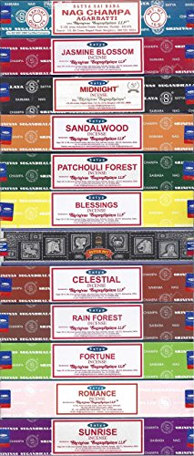 Nag Champa Sunrise Sandalwood Midnight Patchouli Celestial Fortune Blessings Romance Super Hit Jasmine Blossom Rain forest by Satya Gift - Online India Sale In
