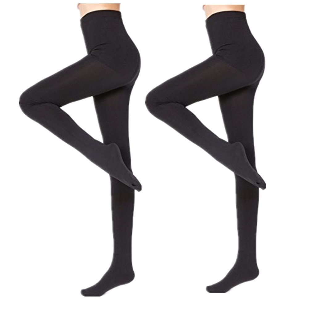 2 Pairs Women Winter Thick Warm Fleece Lined Thermal Stretchy Pantyhose Tights-L/XL, Black, Queen size Fits 5'2''-6'2'' 150-225LBS