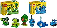 LEGO Classic Creative Green Bricks 11007 Starter Set Building Kit & Creative Blue Bricks 11006 Kids' Build