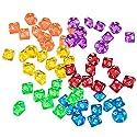 Fityle 約60個 ボードゲーム対応 おもちゃ アクリル  ダイス D10サイコロ 10面ダイス 6色