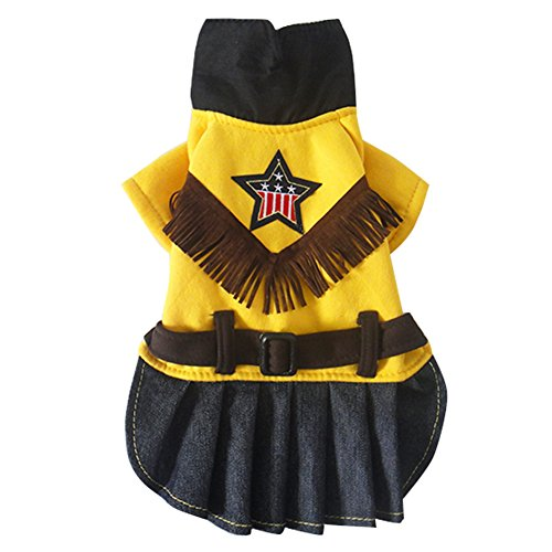 Lumber Jacket Costume (Fenarzo Cowgirl Costume for Small Dogs (L, A-Yellow))