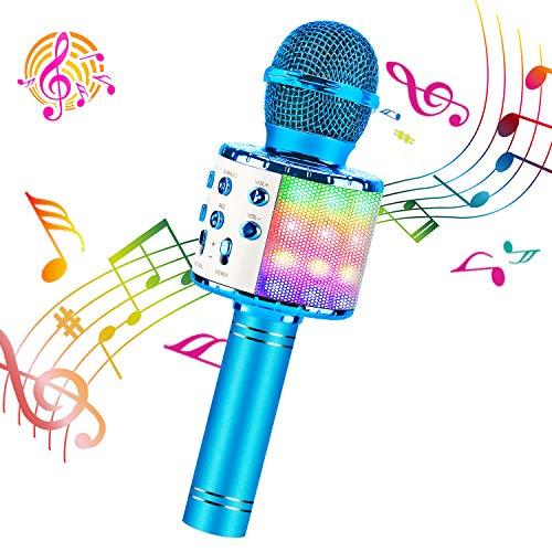 ShinePick Microfono Inalámbrico Karaoke Bluetooth Portátil con Altavoz y LED para Niños