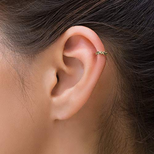 Helix Earring, Gold Cartilage Ring, Boho Tribal Indian Hoop Ring Piercing, fits Helix, Tragus, Septum, Daith, 18g, Unique Handmade Body Jewelry