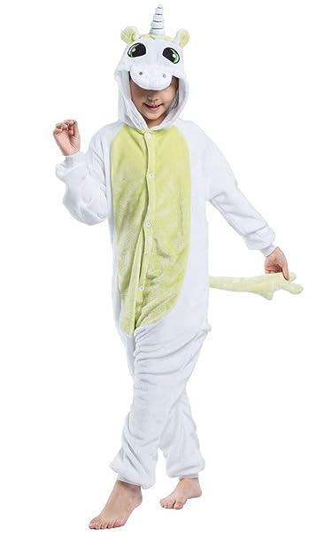 Kigurumi Unisexo Niños Animal Pijamas Carnaval Halloween Navidad Cosplay Disfraz Green Unicorn