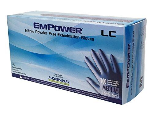 Adenna Empower-LC 8 mil Nitrile Powder Free Exam Gloves (Blue, Medium) Box of 100