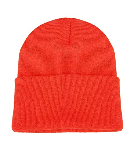 Orange Skull Cap (Luxina Winter Warm Chunky Soft Stretch Cable Knit Hat Daily Slouchy Beanie Hats Skull Cap Orange)