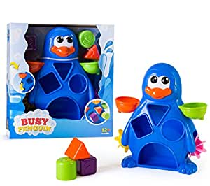EduKid Toys Busy Penguin Baby Bath Toy - Shape Sorter & Water Wheel Action Bath-time Toy by