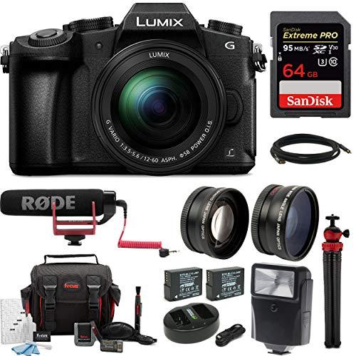(Panasonic LUMIX DMC-G85MK 4K Mirrorless Lens Camera Kit, 12-60mm Len + Rode VideoMic Go 64GB Accessory)