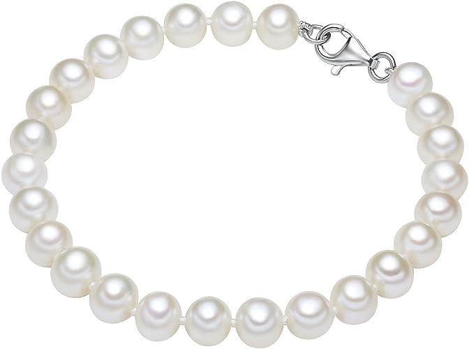 Valero Pearls Plata de ley 925 Perlas de agua dulce de cultivo Pulsera de perlas