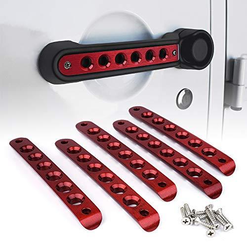 Red Handle Door - Xprite 5 Pcs/Sets Brushed Aluminum Door Grab Handle Inserts Cover Trim for 2007-2018 Jeep Wrangler JK & Unlimited 4 Door-Red
