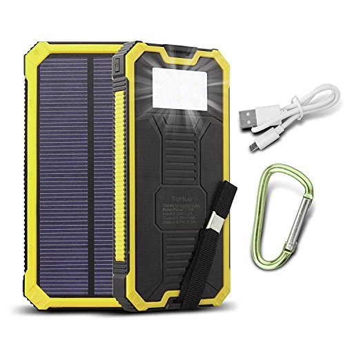 ToHLo Solar Charger Power Bank 15000mAh, Solar External Battery Pack, Dual USB Portable External Solar Power Bank Charger for Iphone 7 6 Plus 5 Galaxy S7 6 5 HTC and most Smart phones Tablets (Yellow) Gear And Gadgets HzDz